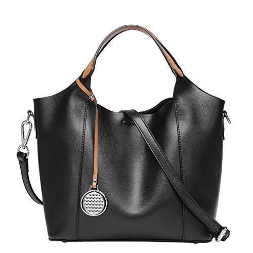 Heshe Leather Womens Shoulder Handbags 2 in 1 Bag Top Handle Tote Purse Satchel Ladies Purses Crossbody Bag (Black)