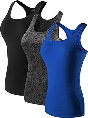Neleus Women's 3 Pack Compression Athletic Dry Fit Long Tank Top,Black,Grey,Blue,US S,EUR M
