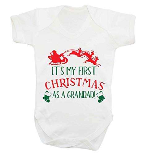 Flox Creative Baby Vest My First Christmas Grandad - Blanc - M