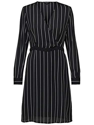 SELECTED FEMME Slfdaniella LS AOP Dress B Vestido, Multicolor (Black Stripes: Creme/Dynella),...