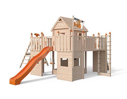 ISIDOR Spielturm Fort Fox erweitertem Schaukelanbau, Doppelschaukel, Rutsche, Kletternetz, hissbarer Fahne und Kletterrampe auf 1,50 Meter Podesthöhe (orange)