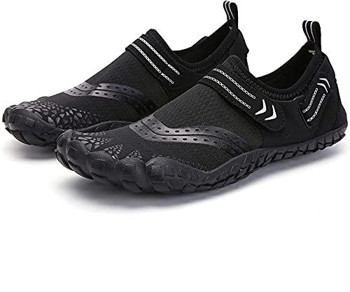 JOK Zapatos de Deportes acuáticos de Gran tamaño para Hombres, Zapatos de natación de Buceo en la Playa de Secado rápido, Zapatos de balancín de Ocio al Aire Libre, Black - 13 Women/12 Men