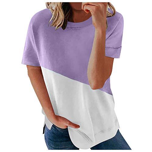 PcLeam Damen Oberteile Pullover Kurzarm Rundhals Drucken Lose Sommer Blusen Patchwork Farbblock Shirt Basic T-Shirt Mode Frauen LäSsige Shirts Tops Tuniken Hemd(Lila,XL)