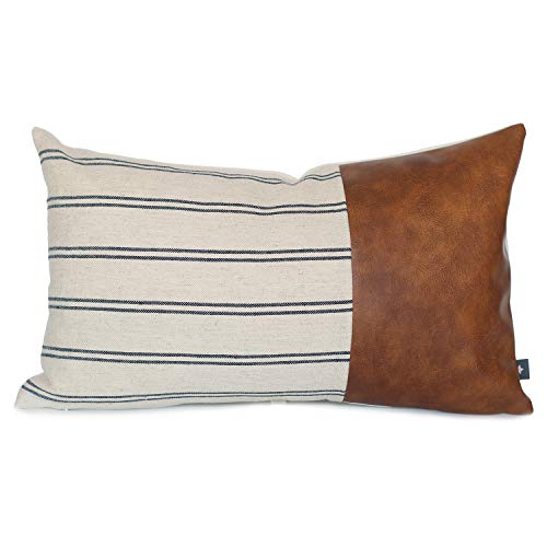 Kdays Linen Farmhouse Blue Ivory Striped Throw Pillow Cover Decorative Faux Leather Ticking Stripe Cushion Pillowcase Color Blocked Sofa Couch Bohemian Country Rustic Lumbar Pillow 12x20 Inches
