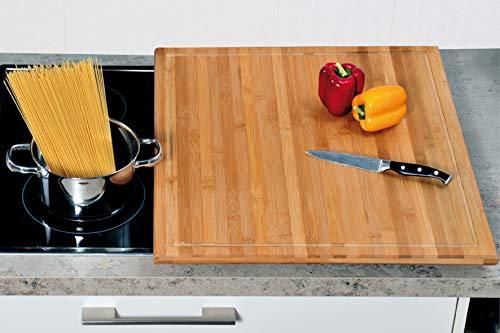 Neustanlo® XXL Schneide- und Abdeckplatte Ceranfeldabdeckung Bambusholz Holz 56x50x4 cm