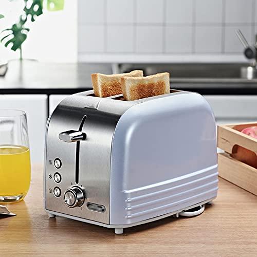 Tostadora a casa de 6 velocidades Tostadora de Desayuno, Doble Cara Incluso Hornear, tostadora de Acero Inoxidable, 2 rebanadas automáticas