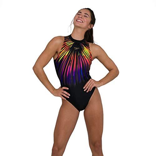 Speedo Damen Hydrasuit Brust Unterstützung Reißverschluss Rücken Badeanzug Gr. 42, Explosion Schwarz/Gelb