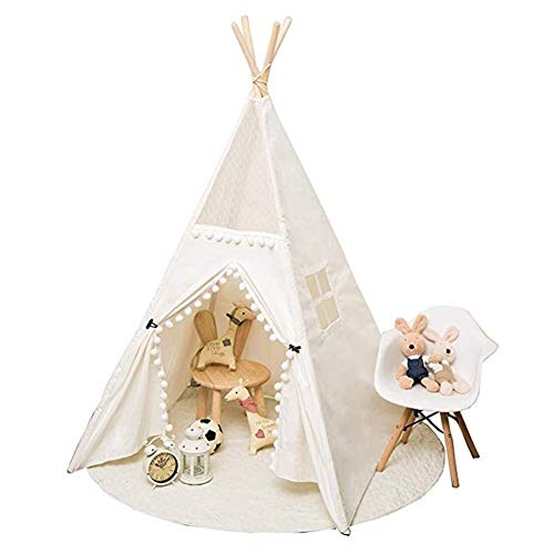 YDHWY Kids Teepee Tent for Kids Foldable Play Tent - with Mat for Indoor Outdoor, Raw White Canvas Teepee - Kids Playhouse - Portable Kids Tent