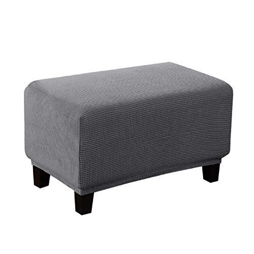 BANGSUN Funda otomana elástica suave rectangular para sofá, lavable, sin arrugas, tela jacquard gris