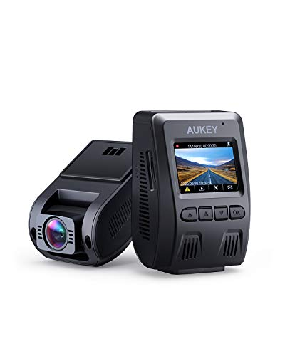 AUKEY Dash Cam 1080p Car Camera 170 Degree 6-Lane Wide Angle Lens Dashboard Camera Recorder Supercapacitor G-Sensor and Clear Nighttime Recording