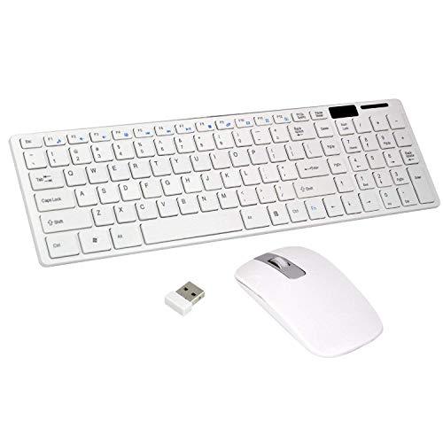 Gaetooely Kabellose Schlanke WeiiE Tastatur Kabelloses Optisches Maus Set fur PC und Laptop
