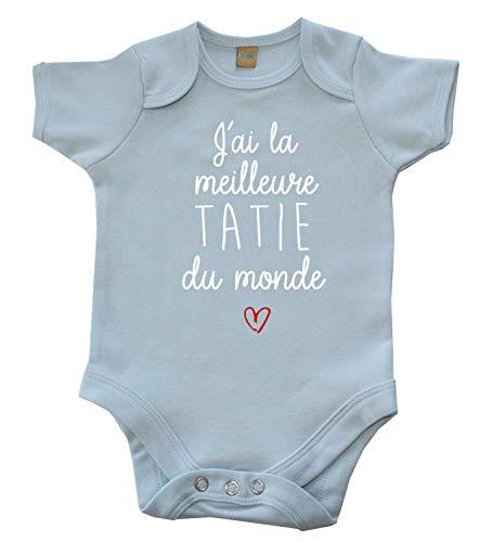 Body Bébé J'Ai la Meilleure Tatie du Monde Bleu Ciel 0-3 Mois