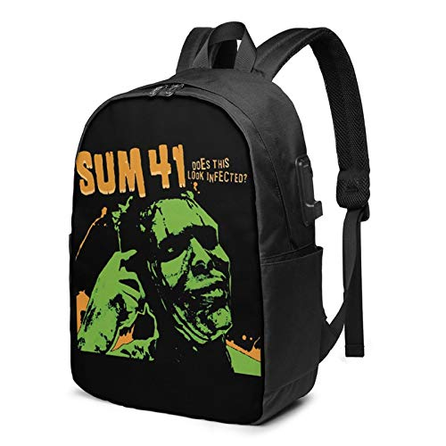 Sum-41 Backpack Computer Backpack Travel Bag for Business Trip Large Capacity 17 Inch with USB Interface