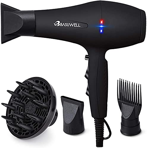 Basuwell Hair Dryer, 1875W Professional Ionic Salon Hair Blow Dryer for Faster Drying, 2 Speed 3 Heat Cool Shot Setting AC Motor Blow Dryer with Diffuser, Concentrator, Comb