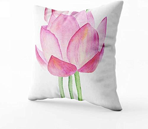 Fundas de almohada, diseño de flores de loto, acuarela, fundas de almohada para sofá, decoración del hogar, dormitorio