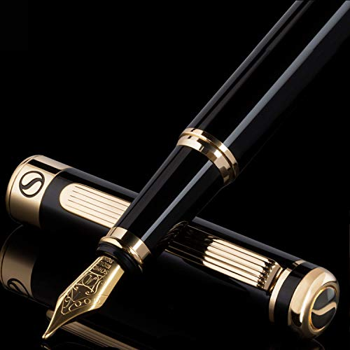 Black Lacquer Fountain Pen Scriveiner - Stunning Luxury Pen with 24K Gold Finish, Schmidt 18K Gilded Nib (Medium), Best Pen Gift Set for Men & Women, Professional, Executive, Office, Nice Pens