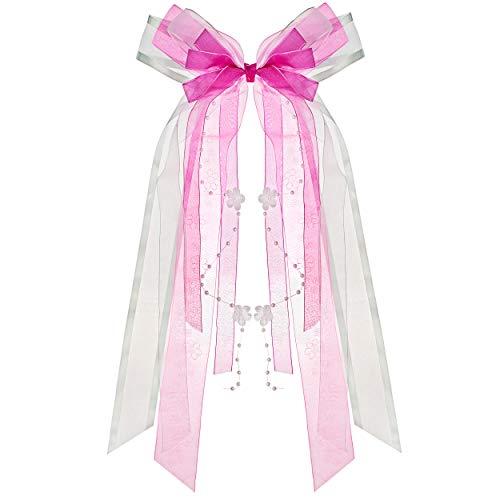 alles-meine.de GmbH große 3-D Schleife - 24 cm breit u. 55 cm lang -  rosa / pink - blau  - Geschenkschleife / Geschenkband mit edlen Satin Bändern, Tüll & Perlenband - für Ges..