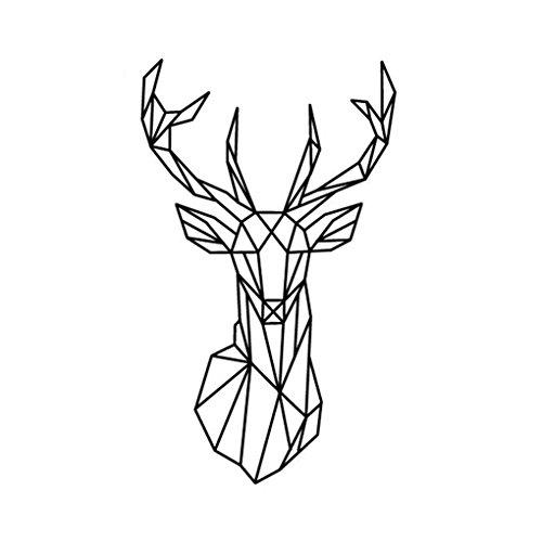 Bobury Geométrica de la pared de los ciervos de la pared de la etiqueta Geometría Animal Series 3D de la pared del vinilo Decoración del hogar