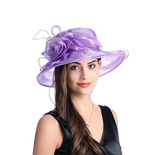 Prefe Women's Wide Brim Floral Organza Kentucky Derby Hat Tea Party Church Wedding Hat Purple
