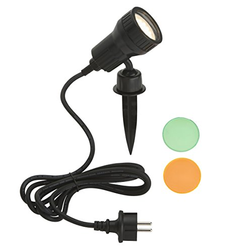 Außenleuchte, Gartenleuchte, Wegeleuchte, 1 x LED GU10 3W 250lm, inkl. Farbfilter orange, grün, inkl. Erdspieß und Wandhalterung, Kopf schwenk- und drehbar, inkl. Steckerzuleitung 2,0m, IP44, schwarz