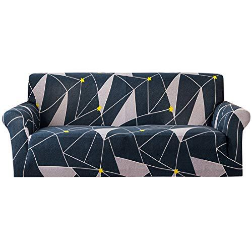 Wenlia Funda elástica para sofá, Funda Universal para sofá con diseño geométrico, con Espuma con Fundas de Almohada, poliéster Spandex Protector Suave y cómodo para Muebles de 1 2 3 4 plazas