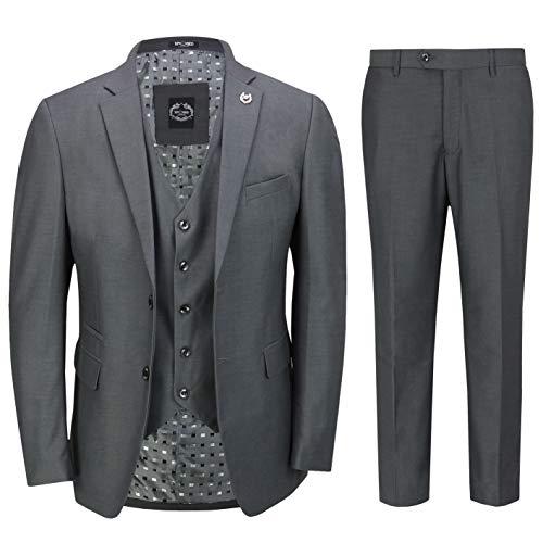 Hommes Gris Anthracite 3 Pièces Costume d'affaires Élégant Bureau Informel Classique Travail Formel en Forme Tailored [SUIT-JROSS-CHARCOAL-36UK]