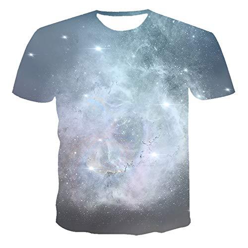 Qier Tshirt Herren Grafik Kurzarm T-Shirts Basic Tops, 3D Meteor Print, Kaffee, 3XL