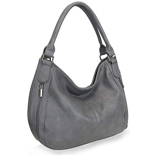 Damen Handtasche Praktische Beuteltasche mit vielen Fächern Umhängetasche Schultertasche