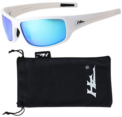 HZ Series Arkana - Premium Polarized Sunglasses by Hornz - Gloss White Frame - Blue Ice Mirror Lens