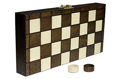 Wooden Magic Damas Damas - 25cm/9,9 en Artesanal Madera Juego de Mesa