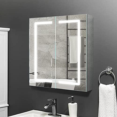 Janboe spiegelschrank Bad mit Beleuchtung 60 cm breit mit Berührungsschalter+Rasierer-Steckdose + Antibeschlag-Pad für Make-up-Kosmetik 600 x 700 x 140 mm