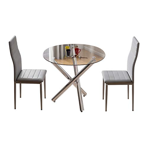 Jooli H Round Dining Table and Chairs Set 2, Glass Kitchen Table and 2 Grey Faux PU Leather Chairs Modern Dining Room Furniture Set