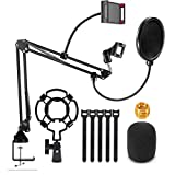 Microphone Stand With CellPhone Holder,Mic Boom Arm Desk Adjustable Suspension Boom Scissor for Blue Yeti Snowball,Mic Arm Stands with Mic Pop Filter,Shock Mount,Cell Phone Holder,5/8' to 3/8'