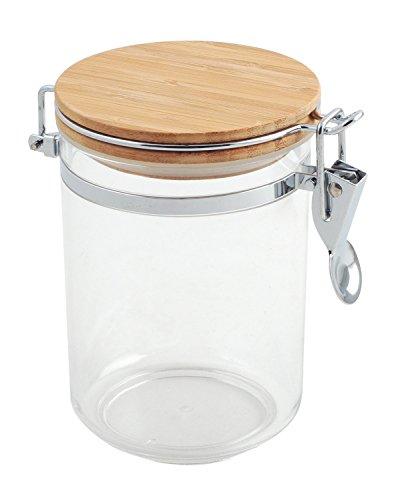 Bote cocina acrílico redondo, tapa bambú, 0.75 litros