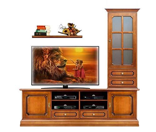 Wohnwand TV-Möbel Vitrine Brett, Möbel im Stil Wohnzimmer, TV-Anrichte Holz klassisch, Einrichtung elegant: TV-Lowboard 2 m+Vitrine+Brett, Einzelne Möbel MONTIERT
