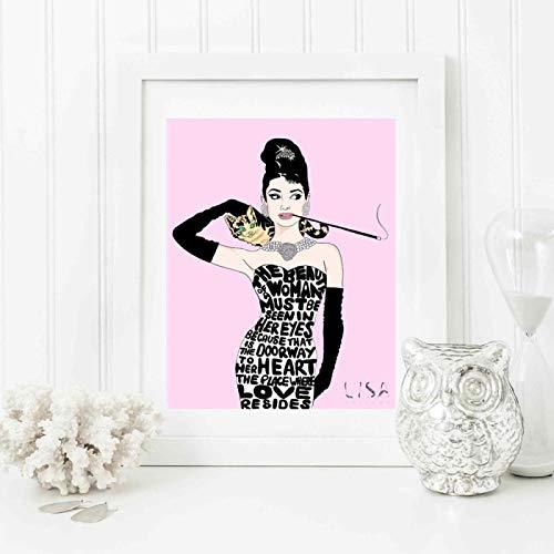 YF'PrintArt Impresiones En Lienzo, Lienzo De Motivación Retro De Audrey Hepburn, Póster De Pintura Moderna, Cuadros Artísticos De Pared para Sala De Estar 50X70Cm No Cuadro,-Yf1332