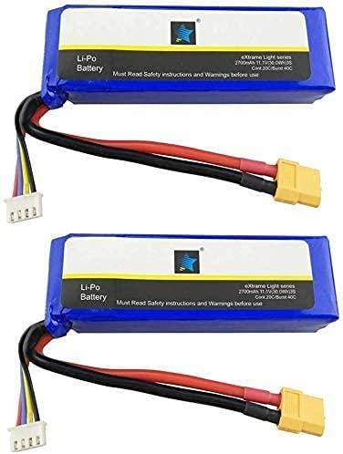 ZYGY 2PCS 11.1V 2700mah LiPO Batteria per Cheerson CX-20 CX20 GPS Brushless RC Quadcopter Drone XT60 Testa Alto ingrandimento Batteria