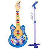 Coherny Microphone Guitar Musical Set for Kids Guitar Toy with Microphone Electric Guitar with Music Lights and Sounds Multiple Modes for Boys and Girls Gift Kits 19Inch (Blue)