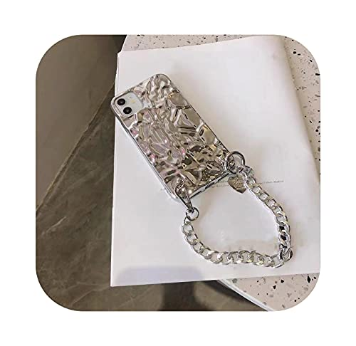 3D lujo plegada lámina de lata amor corazón cadena pulsera teléfono caso para iPhone 11 12Pro X XR XS Max 7 8 Plus cubierta suave Funda-1-para iPhone XS