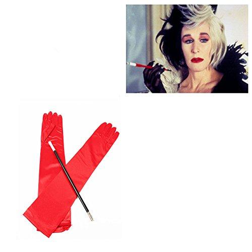 Long Red Gloves and Cigarette Holder Flapper Cruella DeVille 1920s Fancy Dress