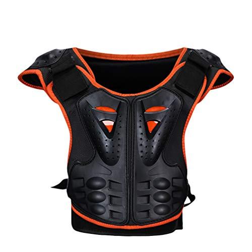 LvRaoo Kinder Motorrad Weste Wirbelsäule Brustpanzer Schutzausrüstung Rennsport Westen für Reiten Skating Roller Skifahren Snowboard (Orange Schwarz, M)