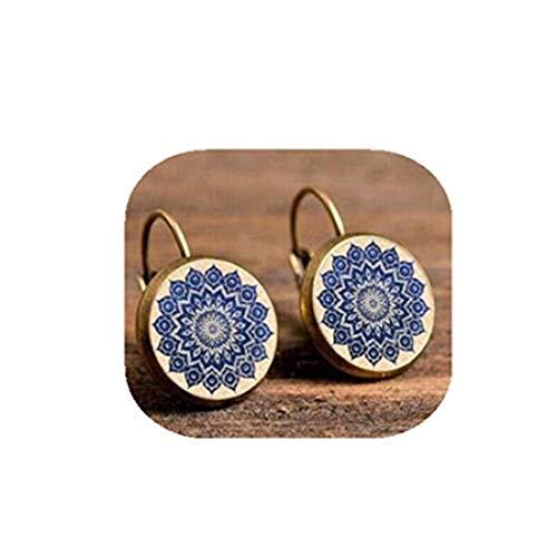 yichahu Pendientes redondos de yoga espiritual para mujer, con cabujón de cristal, joyería con símbolo de mandala, bohemia, para mujer (1)