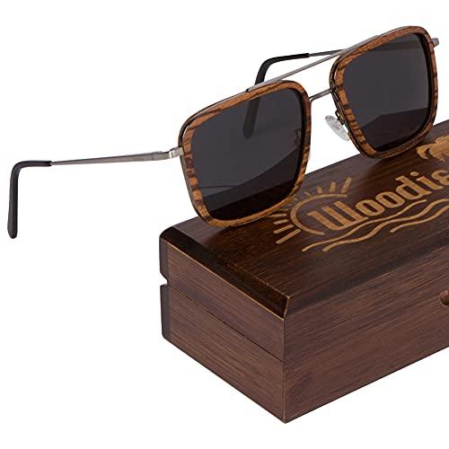 Woodies - Gafas de sol (metal cepillado), diseño de cebra