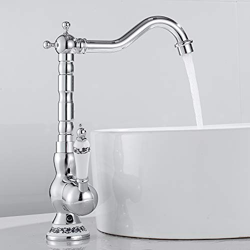 Grifo mezclador para baño o cocina monomando de cerámica floral vintage grifo agua caliente fría de bronce para lavabo baño decoración de la casa (plata)