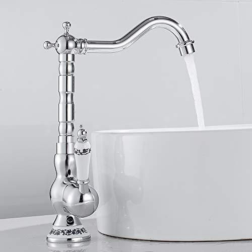 Grifo mezclador baño o cocina monomando de cerámica floral vintage grifo agua caliente fría de bronce para lavabo baño decoración de la casa