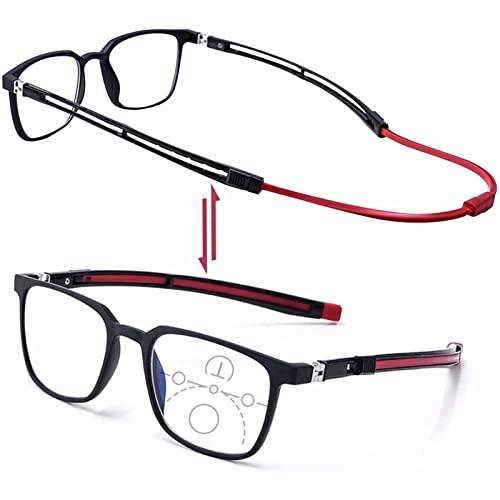 YSDQ Gafas de Lectura magnticas para Hombres Y Mujeres, Gafas De Lectura Ajustables con Cuello Colgante Ayuda De Lectura TR Magntica