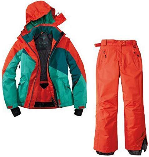 Crivit dames skipak sneeuwpak ski-jack skibroek 2-delig rood groen waterafstotend