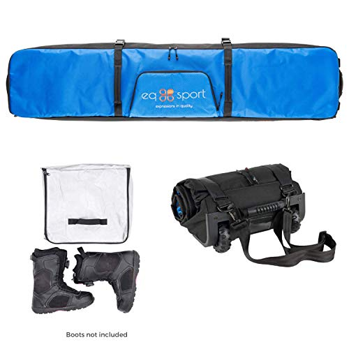 EQ SPORT Fully Padded Snowboard Bag with Wheels (158) | Transport Board up to 168cm | Waterproof,...