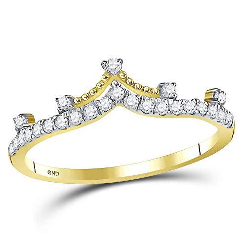 Anillo de oro amarillo de 10 quilates con corona de diamante redonda de 1/5 quilates para mujer