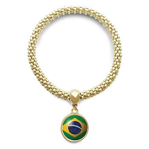DIYthinker Cadena de joyería de fútbol de fútbol del Brasil de la Bandera Nacional de Oro Pendiente Redondo de Pulsera